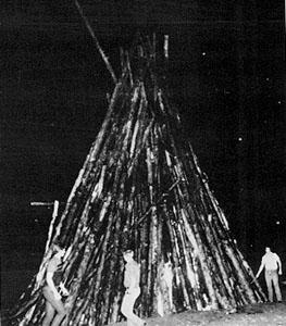 Building the bonfire pyre.