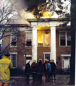 Austin Hall on fire