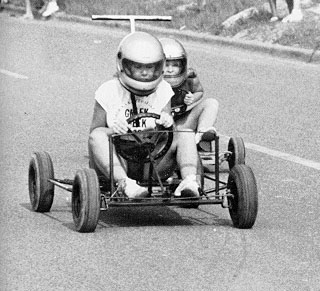Racing in the Soap Box Derby.