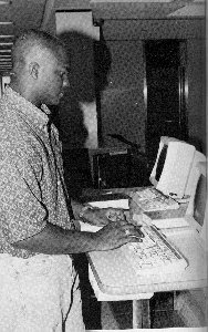 Student using a computer.