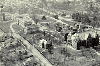 A view of the campus from the northeast, about 1927.