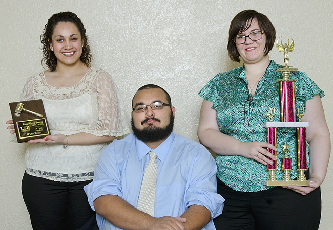 Fabiola Sanchez, Robert Trevino, and Rebekka Frizzell are among SHSU's award-winning debaters.