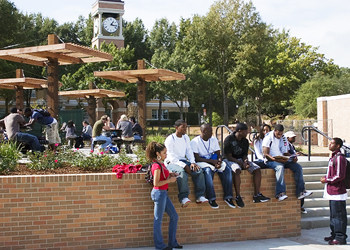 Students enjoying the new Bearkat Plaza