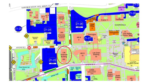 sam houston state university campus map Directions sam houston state university campus map