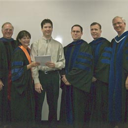 SHSU Beta Gamma Sigma awardee with SHSU business administration faculty