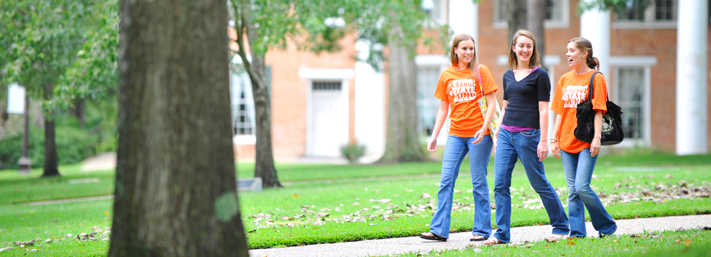 Students walking on the SHSU campus in Huntsville, Texas