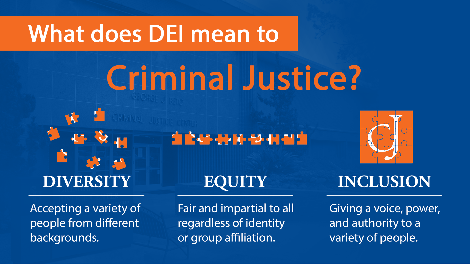 What does DEI Mean to Criminal Justice? Diversity: accepting a variety of people from different backgrounds. Equity: fair and impartial treatment no matter race, religion, gender, etc. Inclusion: giving a voice, power, and authority to a variety of people.