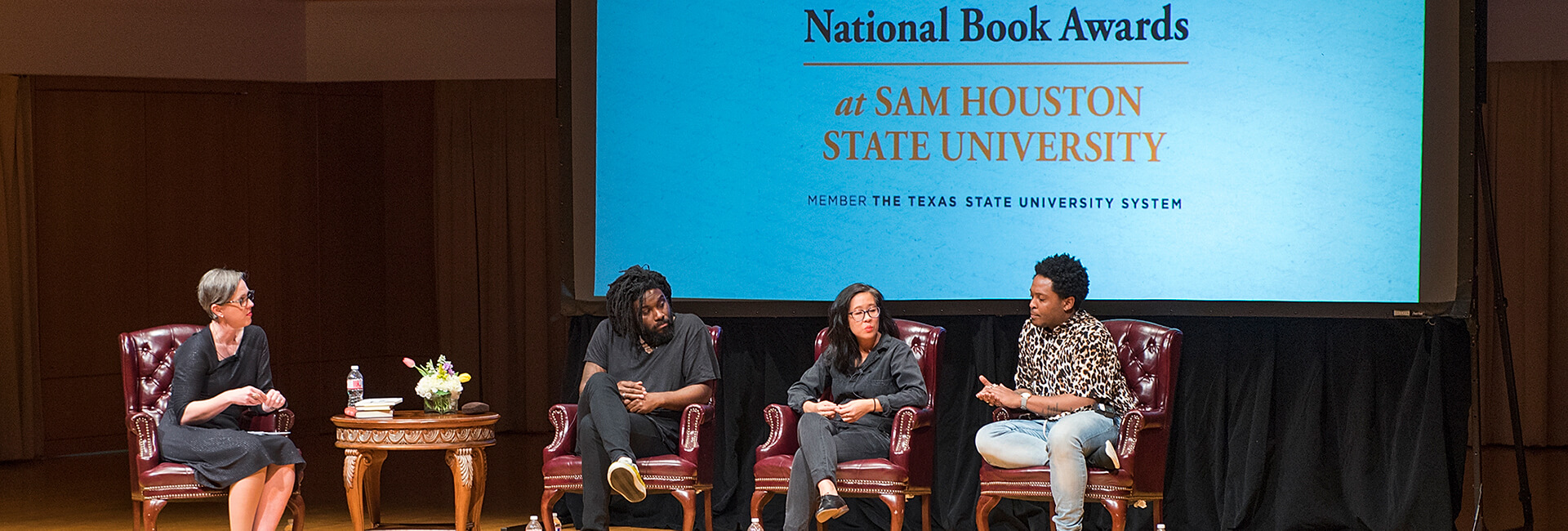 National Book Awards Stage with 4 people sitting in chairs