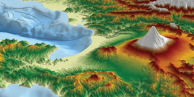 Geographic Information System 3d map with Mountains