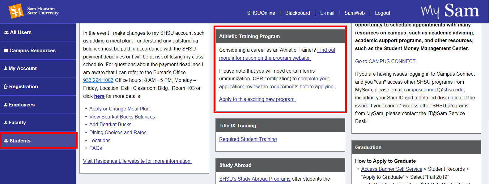 Students tab is highlighted. Athletic Training Program box is highlighted.