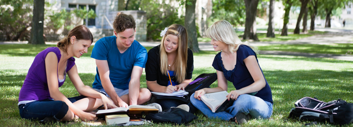 Students studying on the SHSU campus in Huntsville, Texas