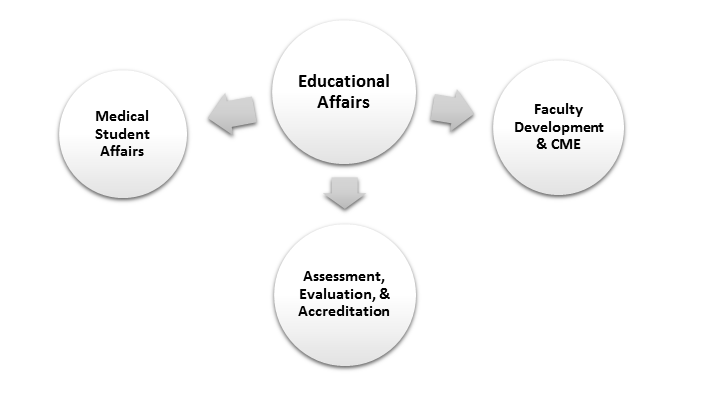 Educational Affairs: Assessment, Evaluation, & Accreditation, Faculty Development & CME, and Medical Student Affairs