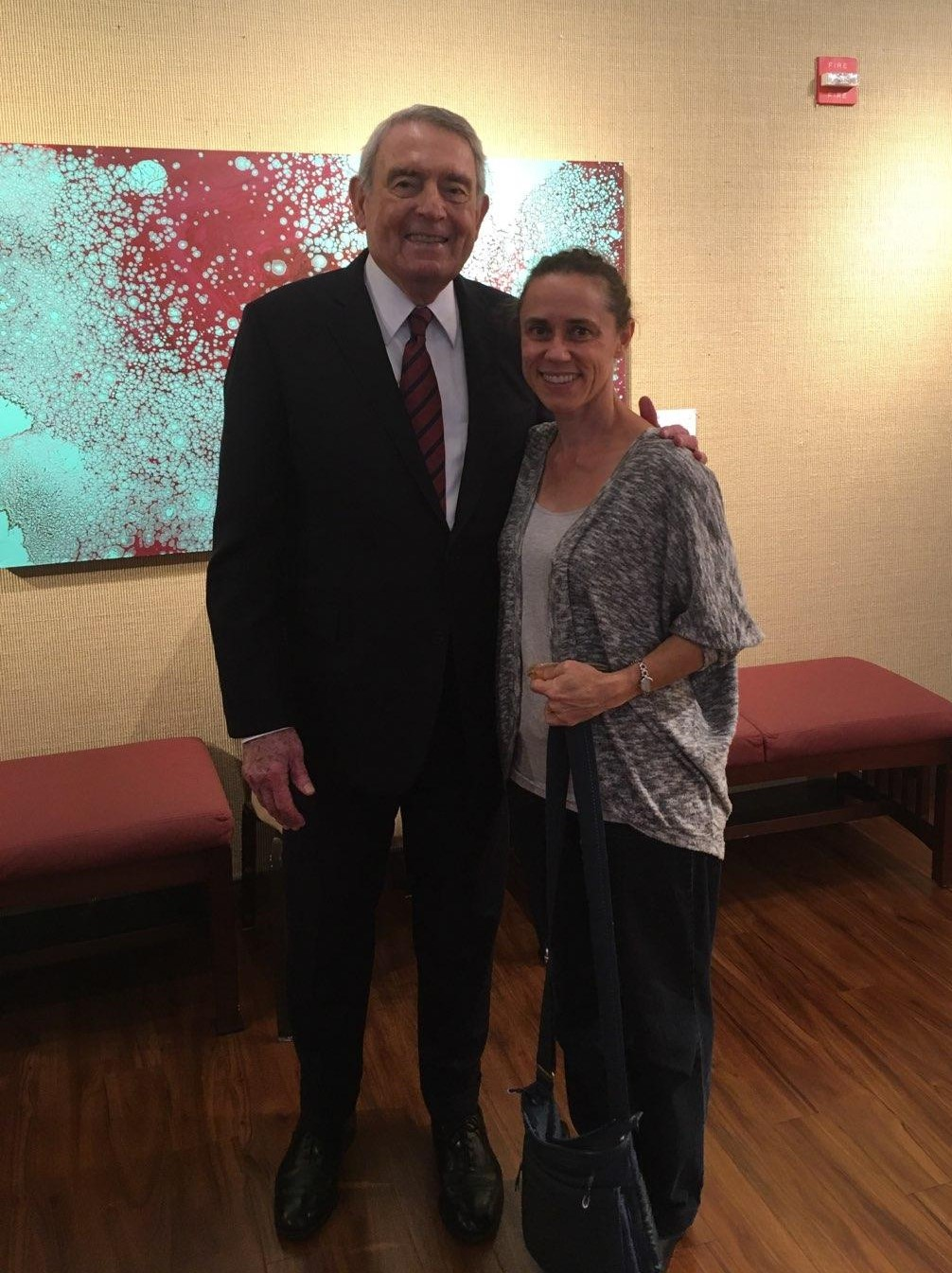 Dan Rather poses with Dr. Emily Cabaniss.