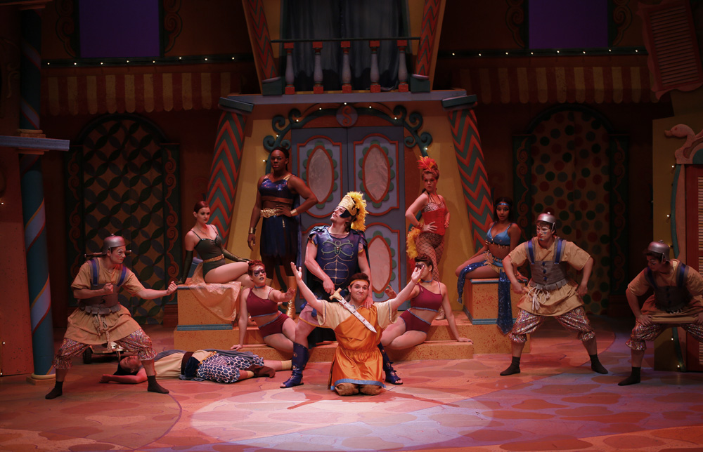 SHSU theatre actors on stage in Funny Thing Happened on the way to the Forum