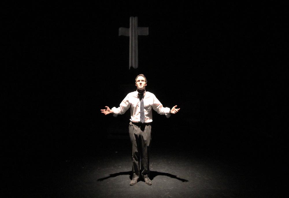 SHSU theatre actors on stage in Gods Man in Texas