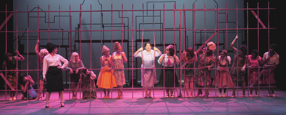 SHSU theatre actors on stage in Hairspray