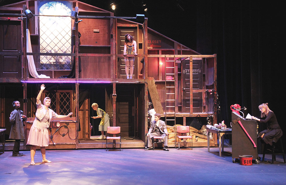 SHSU theatre actors on stage in Noises Off