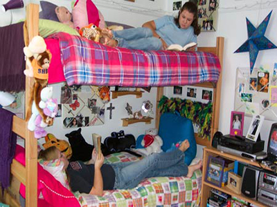 bunk beds in a dormitory
