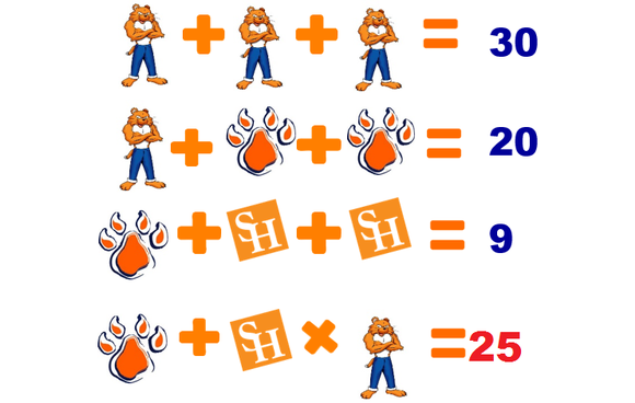 A math puzzle utilizing Sammy Bearkat, Bearkat Paws, and the SHSU Logo