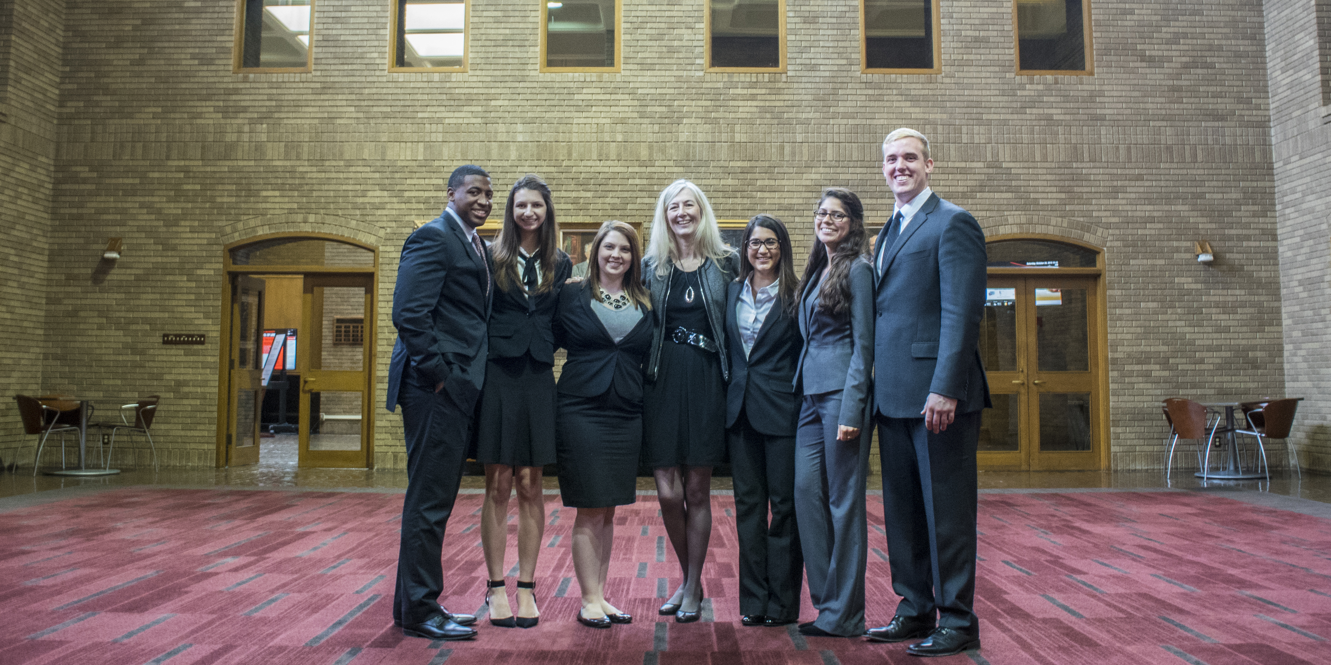 The SHSU Moot Court Team with Coach Jean Loveall at the Texas Tech Moot Court Tournament