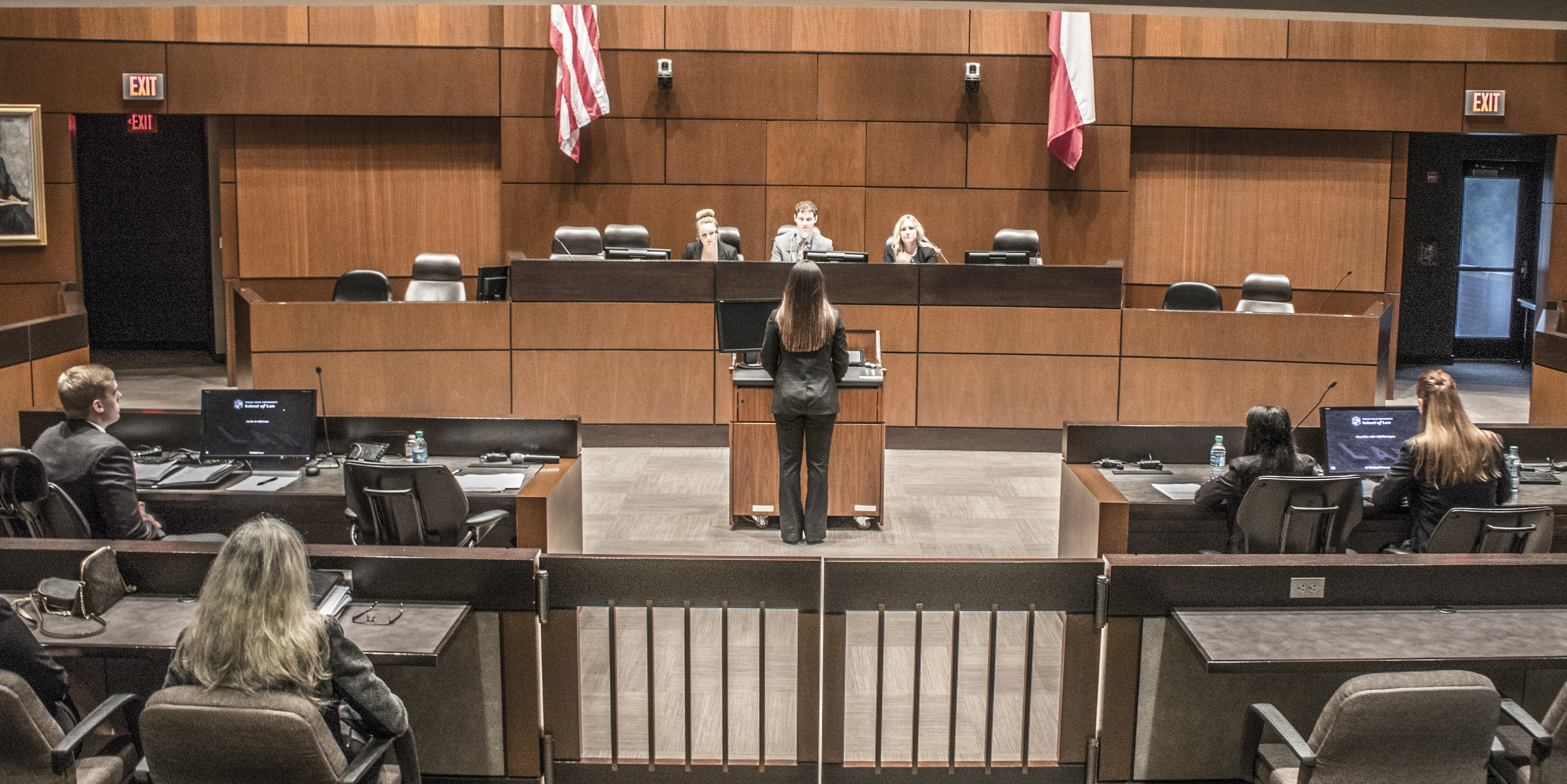 Moot Court students compete in the court-room against teams from across Texas and the US, often in front of practicing attorneys and judges.