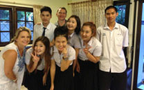 Sam Houston State Assistant Professor Dr. Karla Eidson poses with students and instructors from Chiang Mai University.