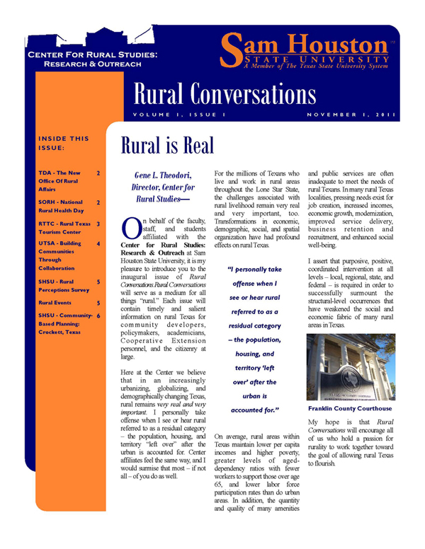 Rural Is Real Image of Volume 1 Issue 1 November 1 2011