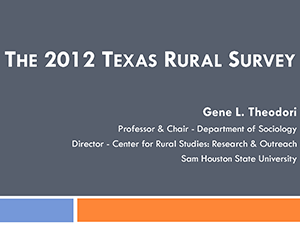 """An Image that reads """"The 2012 Texas Rural Survey"""""""