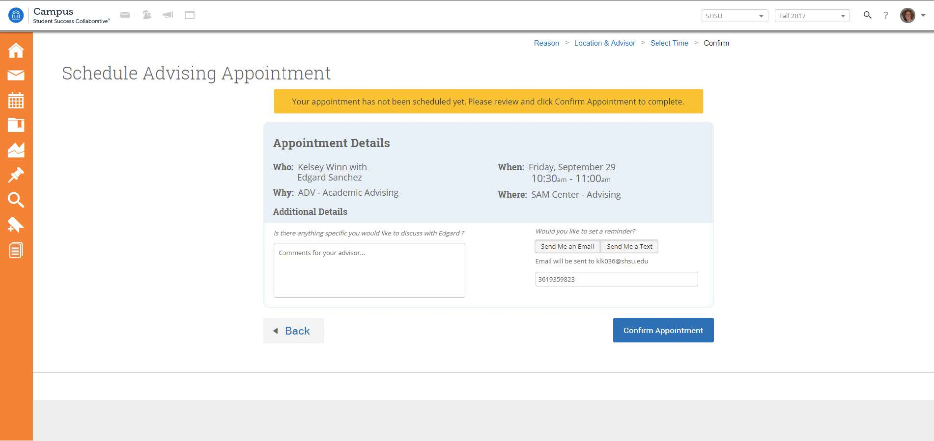 Appointment confirmation screenshot