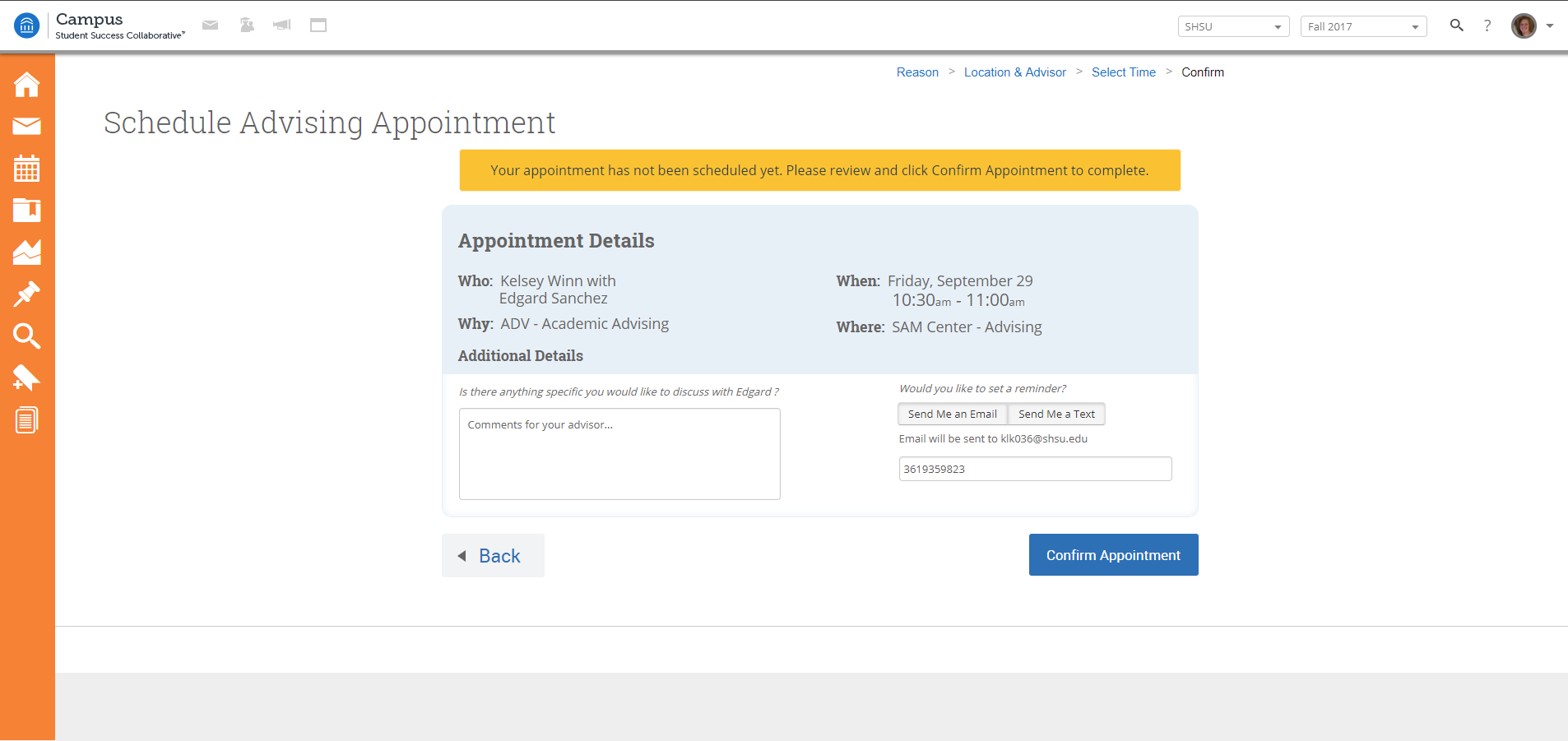 Advising appointment confirmation page.