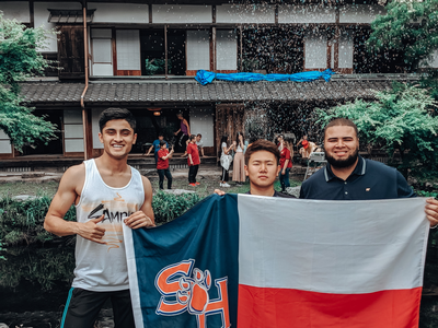 thumbnail view of Bearkat Pride - Anubhav Thakur - Japan - Summer 2019 - RepresentSHSU - This picture was taken outside an old 16th century traditional Japanese cottage in a small town in rural Japan