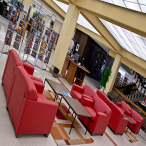 "The library's main lobby contains the paperback ""Browsing"" collection, changing exhibits on a variety of topics, fraternity and sorority sign-in books, comfortable armchairs, an ATM, and six computers for searching the library's catalog (no Internet)."