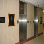 Two elevators face the central staircase on the south side of every floor in the library.