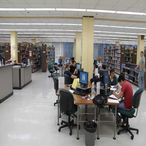 The Reference section provides 28 student computers and 2 black/white printers. Visitors/guests may access the Internet on 1 public computer. Guest printing, color printing, and other services may be purchased in the Copy Room.
