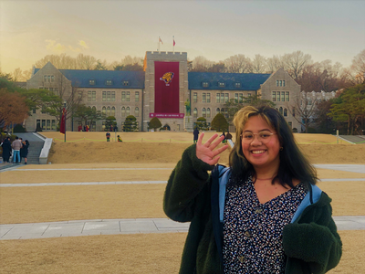 thumbnail view of Bearkat Pride - Melrose Sturgis - South Korea - Spring 2020 - Last Day at KU - Standing in front of Korea University Main Entrance