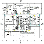 Map of library's first floor. The first floor contains all library copy machines (in Copy Services) and most M call numbers (in the Music Listening Room).