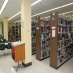 "The Reference section contains dictionaries, encyclopedias, handbooks, manuals, guides, and directories. The west end (""K"" call numbers) contains legal materials for criminal justice, business, and education students. Group study tables are nearby."