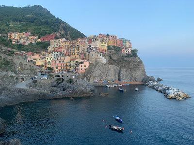 thumbnail view of Sense of Place - Madeleine Dierksheide - Italy - Spring 2020 - Manarola at Sunset - I was advised to hike the Blue Trail from Riomaggiore to Monterosso