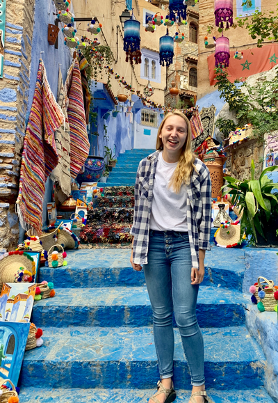 thumbnail view of Faces of Study Abroad - Lindsay Waldo - Morroco - Fall 2019 - Chefchaouen - The blue city was quite enchanting to walk through