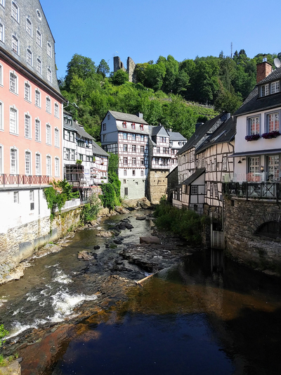 thumbnail view of Natural Beauty - Marian Franks - Germany - Summer 2018 - Monschau, Germany - Standing on a bridge looking toward Monschau Castle in background