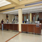 Newton Gresham Library's Circulation desk is usually a hub of activity. Here you can check out books, pay fines, check out laptop computers for use in the library, and more. The Reserves desk is also located here.