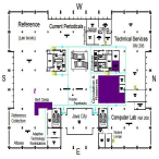 Map of the library's second floor, which can be entered from the main doors on the building's west side, close to the mall area in front of the LSC.