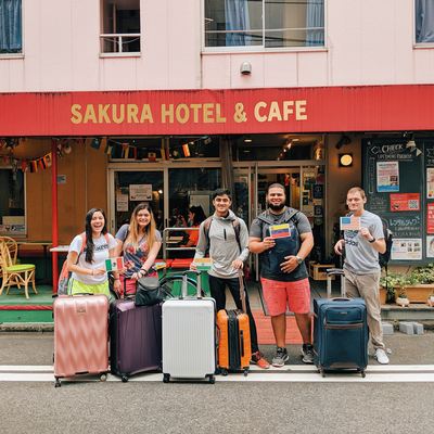 thumbnail view of Faces of Study Abroad - Anubhav Thakur - Japan - Summer 2019 - GlobalBearkats - This picture is taken outside the Sakura Cafe hostel in Jimbocho