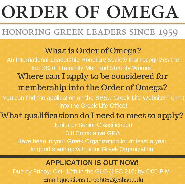 Order of Omega Applications Open Now!
