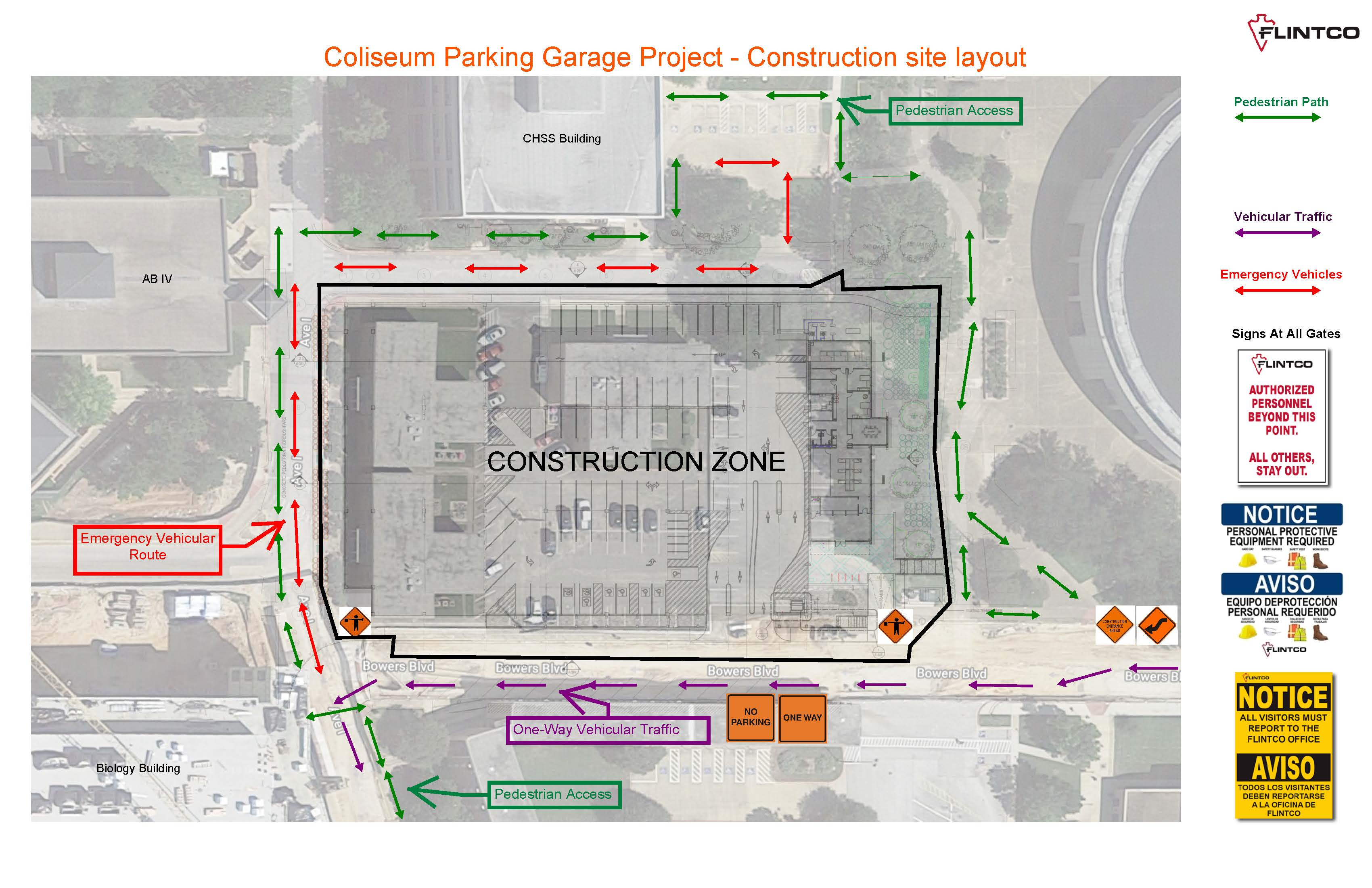 Coliseum Parking Garage Construction Map