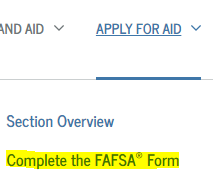 complete fafsa here