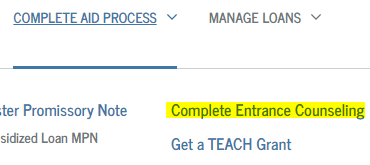 entrance counseling link