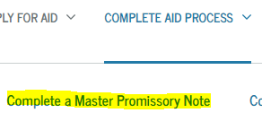 Complete a Master Promissory Note link