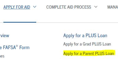 parent plus loan link