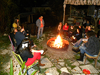 Students around a fire pit